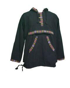Men-039-s-Hippie-Grunge-Bordered-Pullover-Full-Fleece-Lined-Festival-Hippie-Jacket