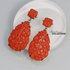 Boucles d`Oreilles CLIP ON Doré Goutte Orange Ethnique Resine Floral Retro YW6