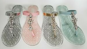 7653cb76b Image is loading Jewel-Badgley-Mischka-Gracia-jelly-Shoes-Sandals-Flats-