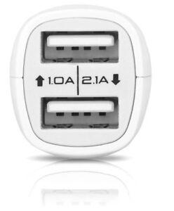 CARGADOR-DE-COCHE-MECHERO-2X-USB-PARA-SONY-XPERIA-Z3-COMPACT-SP-3-1A-MINI-BLANCO