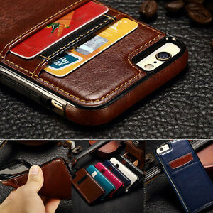 official photos 9510e befd4 Details about Luxury Leather Card Holder Wallet Slim Back Case Cover For  iPhone Xs Max Xr X 8