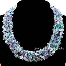 C-3 Fashionable Rainbow fluorite Freeform Chips Beads necklace 18 inch