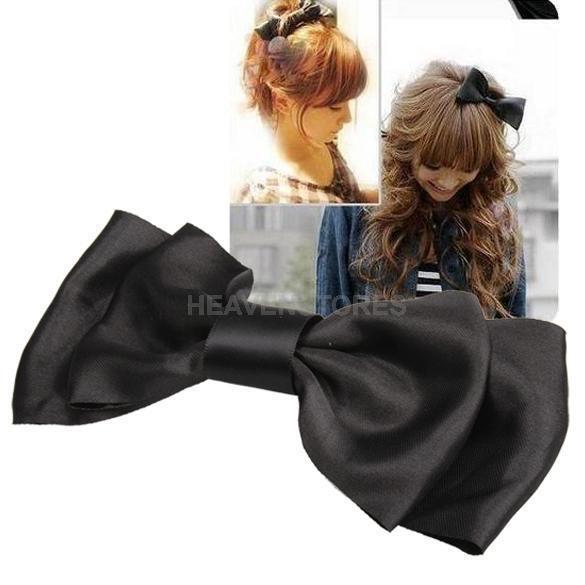 Black Decoration Satin Bow Hair Barrette Clip hv2n