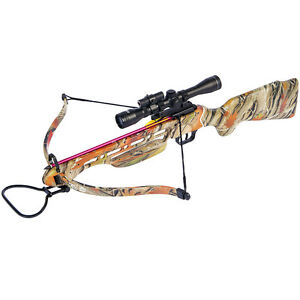 150 lb Camouflage Hunting Crossbow Bow w/ 4x20 Scope + 12 Bolts / Arrows 180 25