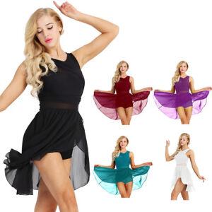 Women-039-s-Adult-Sleeveless-Lyrical-Ballet-Leotard-Dance-Stretchy-Gymnastics-Dress