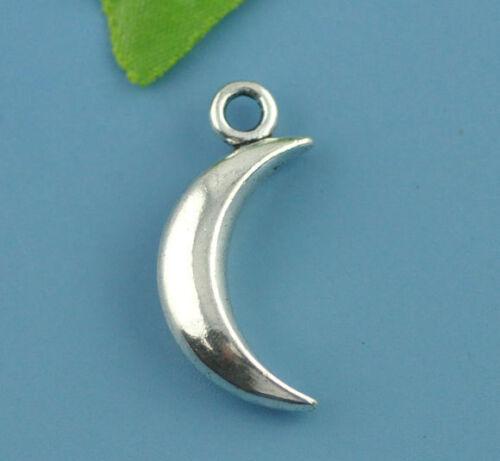 10 Antik Silber Mond Anhänger Perlen Beads 31x14mm