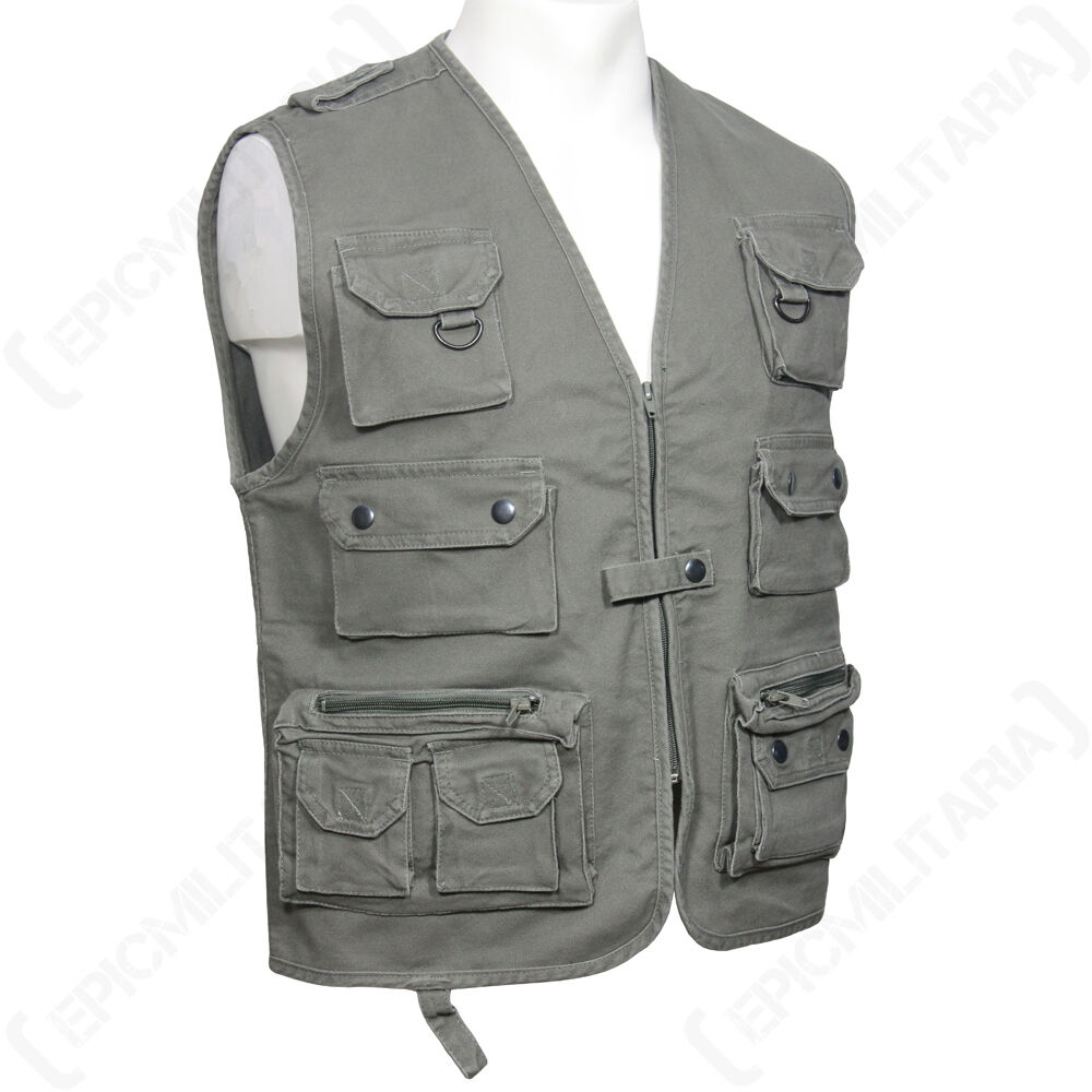 HUNTING AND FISHING MOLESKN VEST - OLIVE - Waistcoat Camouflage Shooting Outdoor