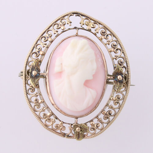 Edwardian Carved Pink Shell Cameo Brooch - 10k Gol