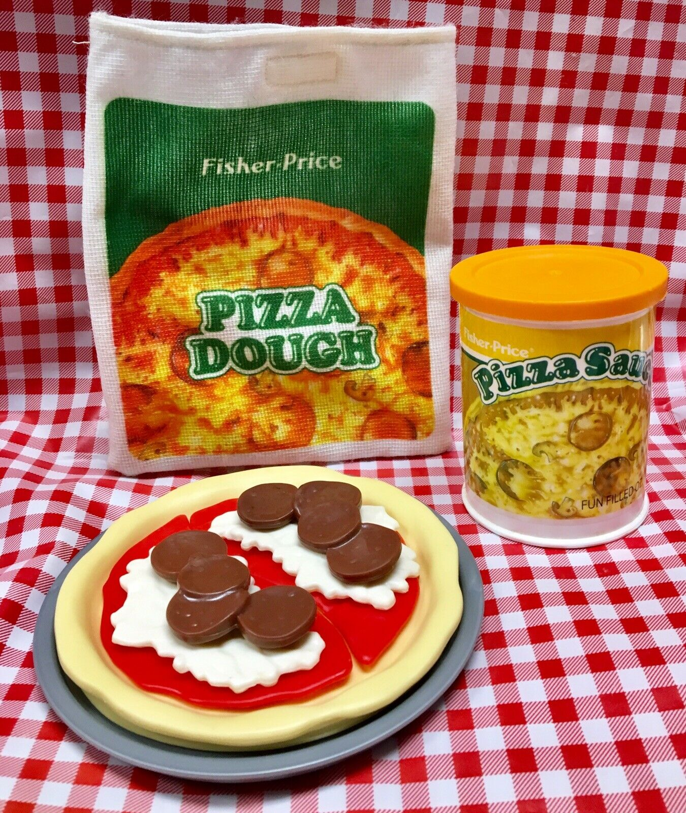 VTG FISHER PRICE Play Food Pizza Pizza Pizza & Sauce Set Fun For Tikes Kitchen 10b8b3
