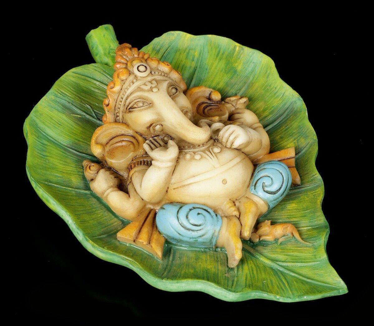 Ganesha Figur auf Buddhabaum Blatt - Fantasy Indische Gottheit Dekostatue