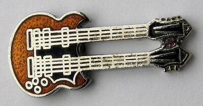 DOUBLE NECK 12 AND 6 STRING MUSIC ROCK GUITAR LAPEL PIN BADGE 1 INCH