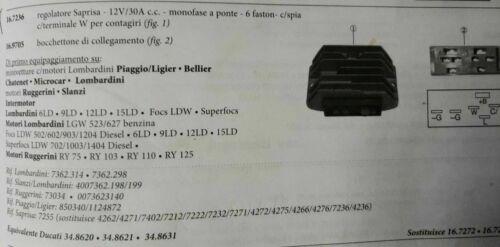 REGOLATORE DI TENSIONE TRATTORE LOMBARDINI RUGGERINI SAPRISA 12V 6 SPINE DUCATI