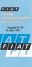 FIAT listino prezzi 15.9.83 nr 20 ABARTH 130 TC SPIDER 126 price list 1983 AUTO AUTOMOBILI