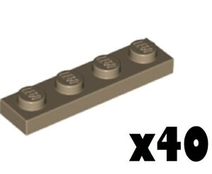 LEGO Lot of 40 1x4 Plate Dark Tan Color 4266904 3710