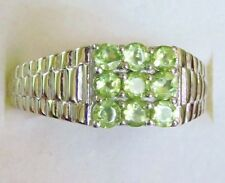 Men's Peridot Ring in Sterling Silver, size 12  ---  1.7cts, 6.5 grams