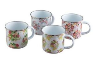 Victorian Trading Co Set of 4 Floral Posy Enamel Ware Mugs
