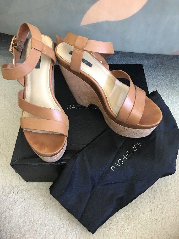 risposte rapide Rachel Zoe Sharon Cut Out Wedge Platform Sandals Tan Leather Leather Leather 9 With Box And Bag  ordina ora goditi un grande sconto