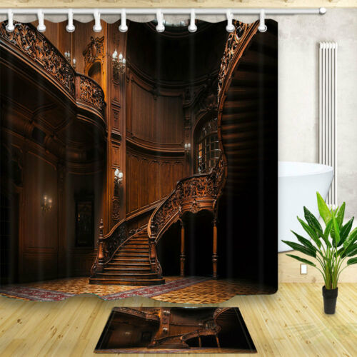 Ancient staircase and hall Shower Curtain Bathroom Fabric /& 12hooks 71*71inches