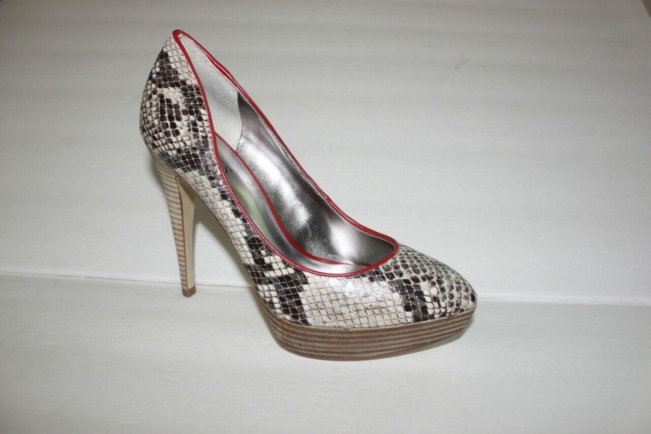 Women's Guess Shoes Size 8 M Brown Snake Print Pump Sandal High Heels