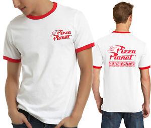 Pizza Planet Ringer T Shirt 2 Side Print Disney Toy Story Theme
