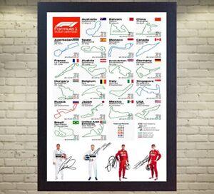 2019-F1-CALENDAR-Lewis-Hamilton-Bottas-Sebastian-Vettel-Leclerc-signed-FRAMED