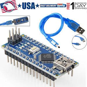 2PCS Nano V3.0 CH340G USB ATmega328P 5V 16M Micro-Controller Board Arduino+Cable