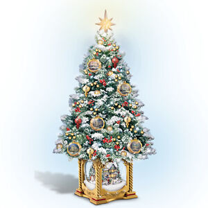 Details About Snow Kissed Holiday Memories Table Top Christmas Tree Decor Thomas Kinkade