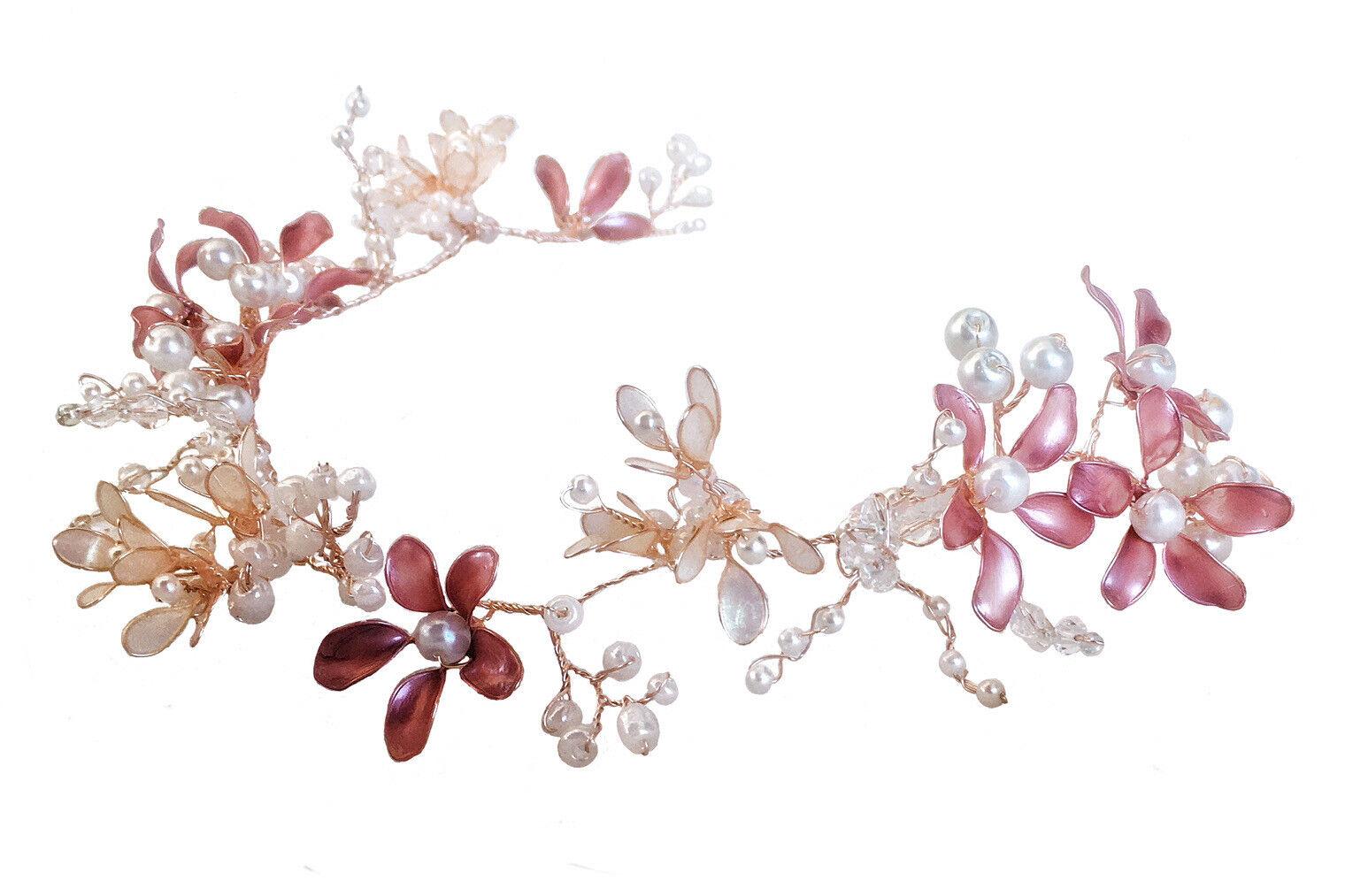 Bridal Hair Vine Cherry Blossom, Woodland Rustic Wedding, Rose Gold, Boho, Prom