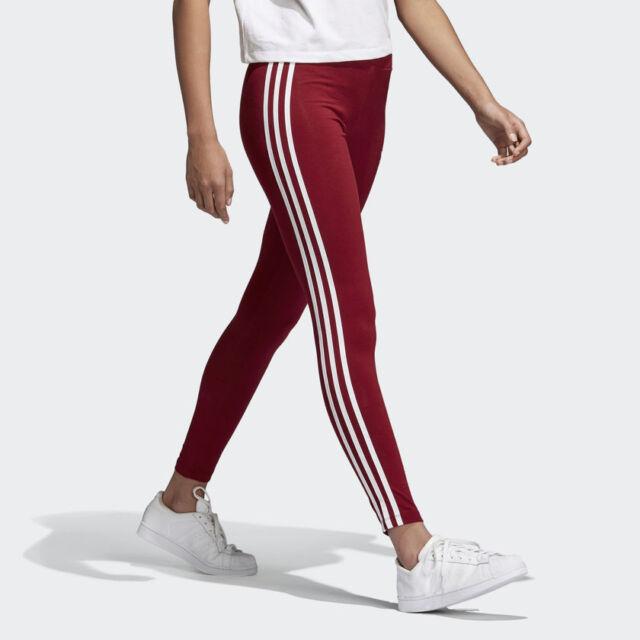 New Women's Adidas Originals 3 Stripes Leggings (CE2442) Burgundy White