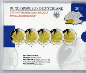 Deutschland-Germany-2013-5-X-2-Euro-Gedenkmuenzen-Baden-Wuerttemberg-KMS-GAJ