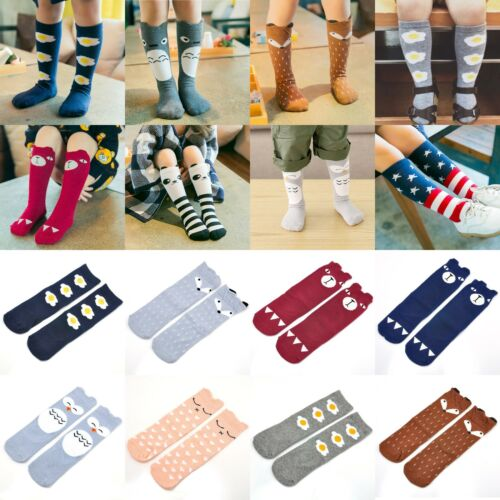 New Lovely Kids Girls Toddlers Cute Pattern Knee High Cotton Socks Age 0-6 Years