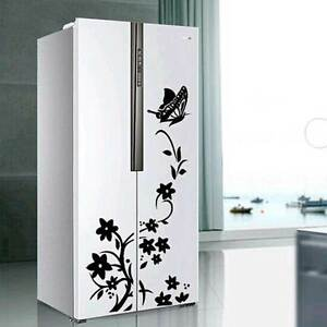 Adesivo-sticker-frigorifero-decorazione-wall-parete-FIORI-FARFALLA-60x35cm-frigo