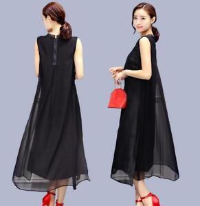 Womens-Summer-Embroidery-Silk-Blend-Sleeveless-Long-Maxi-Dress-Gown-Round-Collar