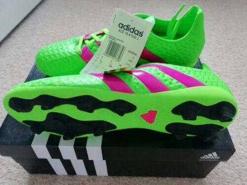 Neuf Adidas Ace 16.4 FxG J Chaussures De Football en vert-rose TAILLE 5uk
