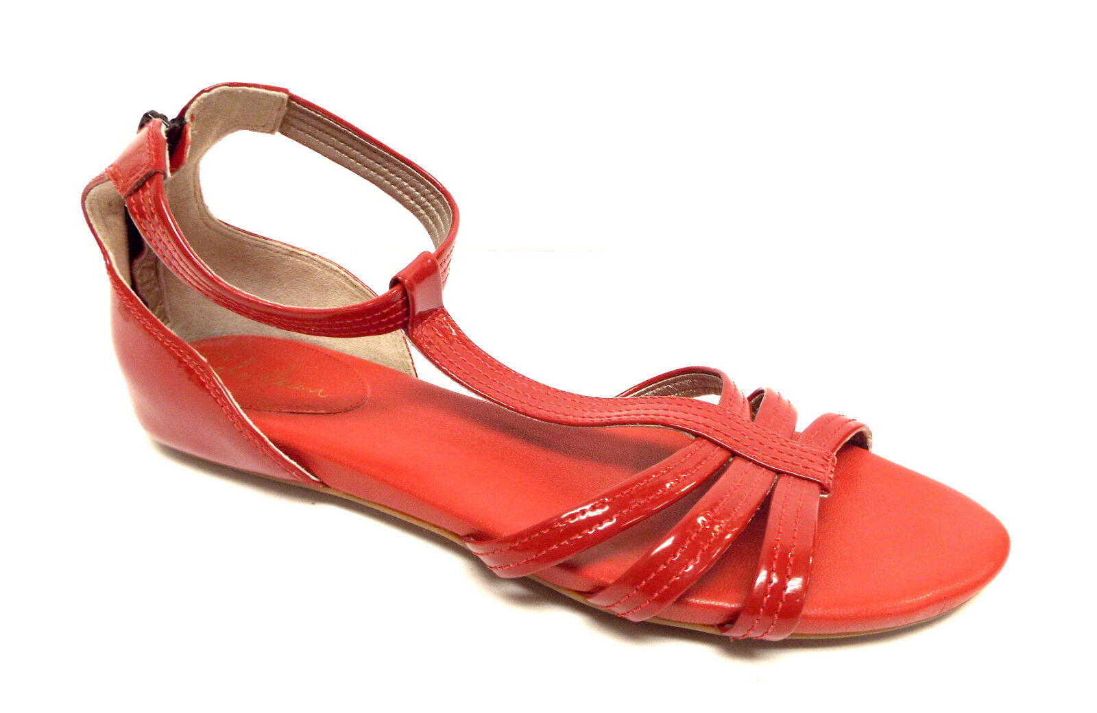 New COLE HAAN Size 9.5 Red Patent Ankle Strap Back Zip Sandals shoes 9 1 2