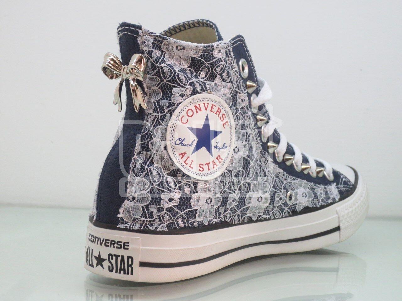 Converse Converse Converse all star pizzo borchie fiocco navy blu artigianali 6ca1cd