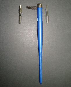 Calligraphie Porte Plume A Tirette Bic Bleu 2 Plumes Offertes Pen