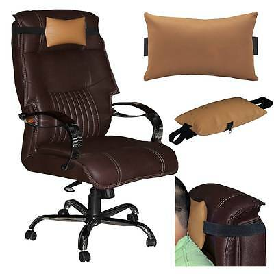 ACM-LEATHER CUSHION PILLOW HEAD & NECK REST for FULL BACK OFFICE CHAIR GOLD