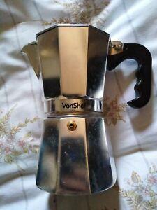 """Espresso Maker Italian Stove Top Coffee Percolator Pot 8"""" Used"""