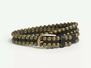 ZADIG-amp-VOLTAIRE-Sea-Studded-Leather-Belt-Black-Cowhide-Brass-toned-Hardware-sz1