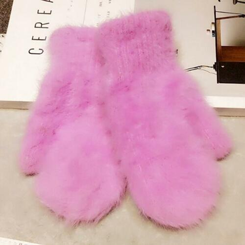Winter Autumn Women Faux Rabbit Fur Solid Color Thickened Warm Gloves Mittens Z