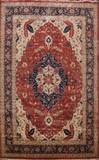 10x15 Room: Vegetable Dye Geometric Heriz Oriental Rug Hand-Knotted