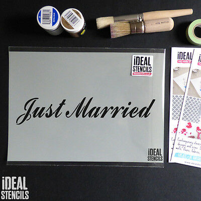 Just Married Wedding Sign decoration STENCIL reusable Painting craft stencil