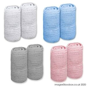 Pack of 2 100/% Cotton Cellular Pram Blanket 70x90cm White Pink Grey Blue Newborn