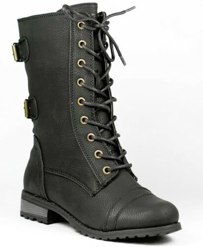 Black Faux Leather w Buckle Strap /& Zipper Lace Up Military Combat Mid Calf Boot