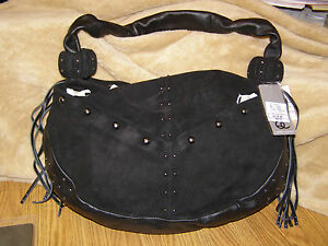 Black-Purse-Designer-Handbag-Studded-Suede-New-Fringed-Chic-Spacious-Accessory
