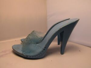 Vintage-80-039-s-Candies-Sandals-High-Heels-Slides-Sexy-Aqua-Blue-Clear-6-37-Italy
