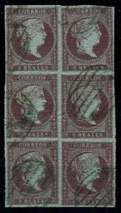 Espana-Clasico-1850-1900-1855-00042-US-Preciosa-bloque-de-6-sellos