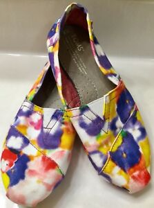 TOMS-Flats-Shoes-Multi-Color-Canvas-Red-Sole-sz-6-RARE-purple-red-yellow-green