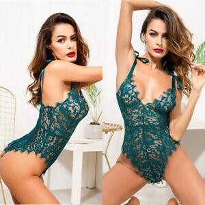 Womens Sexy-Lingerie Nightwear Romantic Deep-V Lace Babydoll Bodysuit Teddy